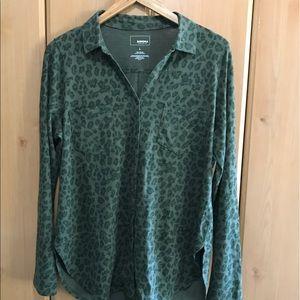 Sonoma Green Leopard Print Blouse